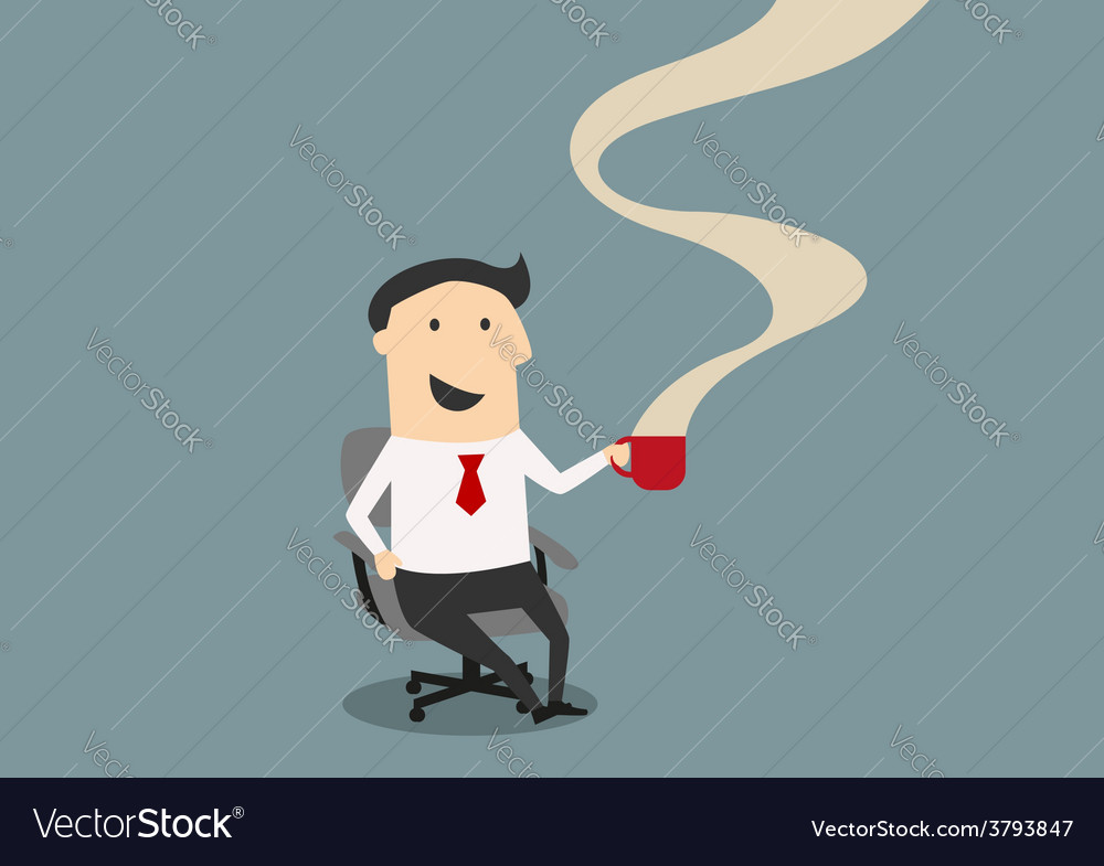 Businessman smiling and drinking cup of coffee vector image