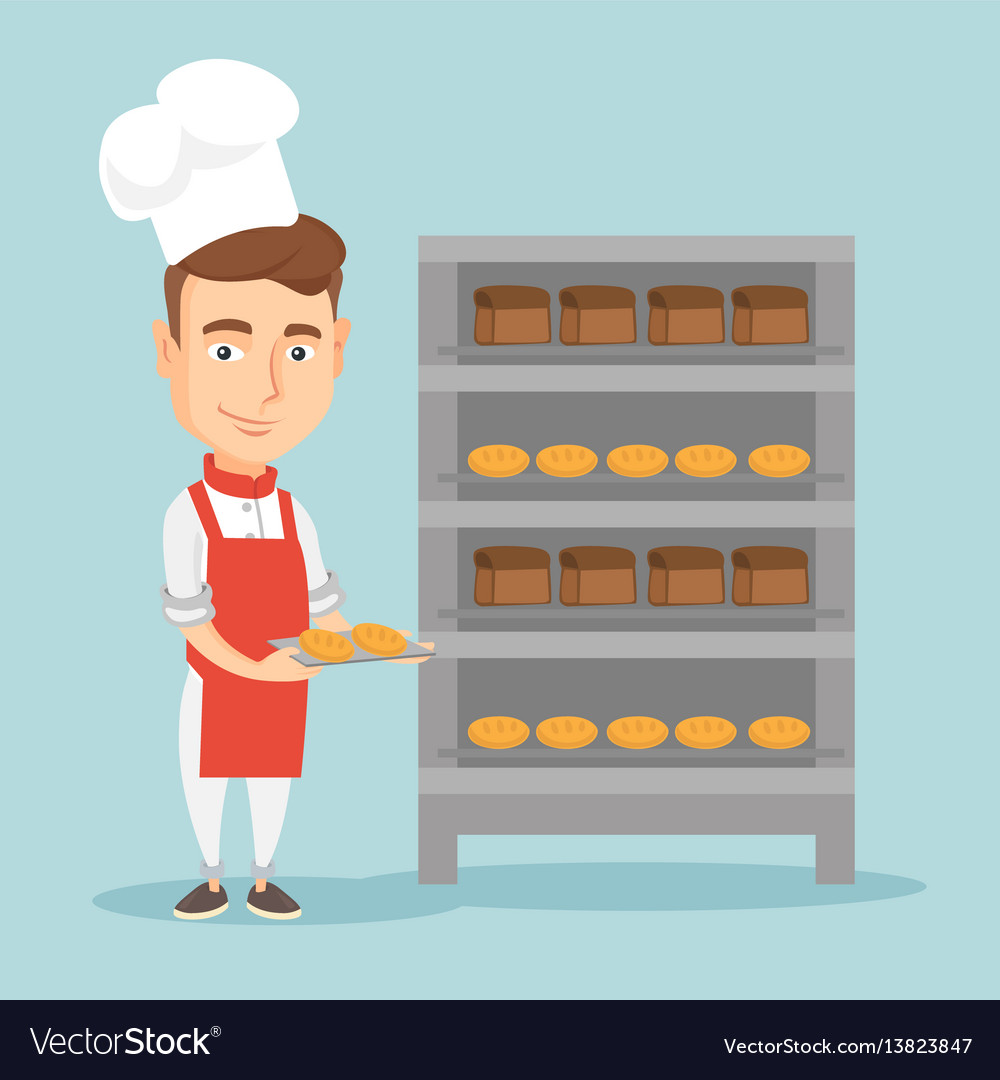 Happy young male baker holding tray of bread vector image