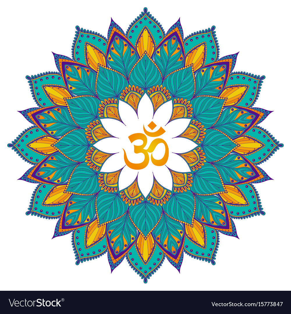 Mandala isolated ethnic round ornament with om vector image