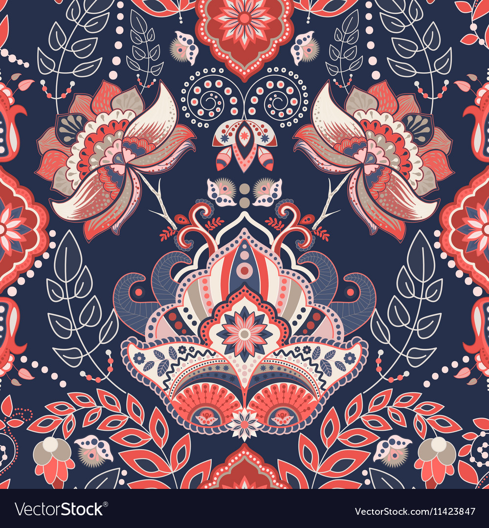 Seamless Paisley background floral pattern vector image