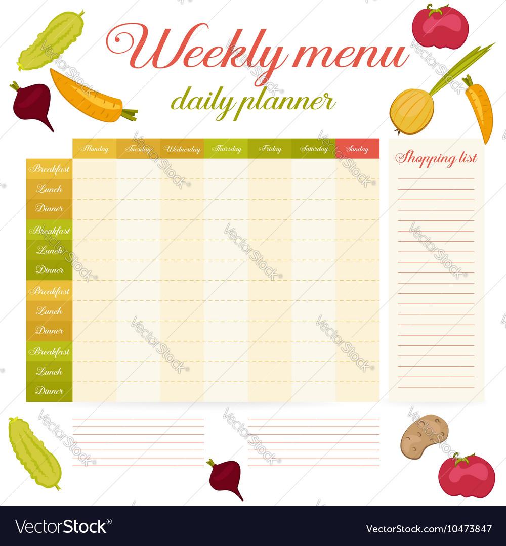 Weekly Menu Cute Vintage Daily Planner Vector Image