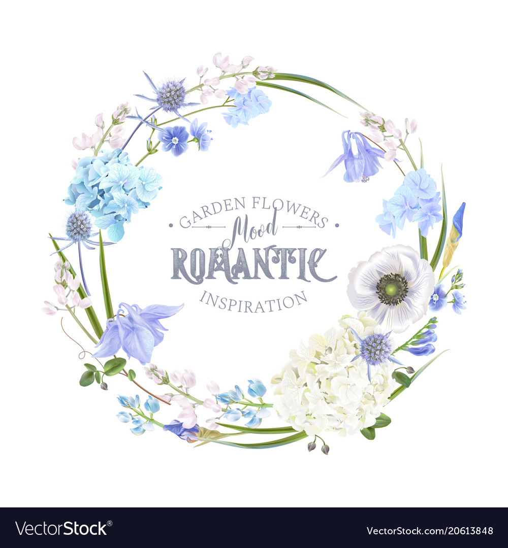 Blue flower wreath royalty free vector image vectorstock blue flower wreath vector image izmirmasajfo Gallery