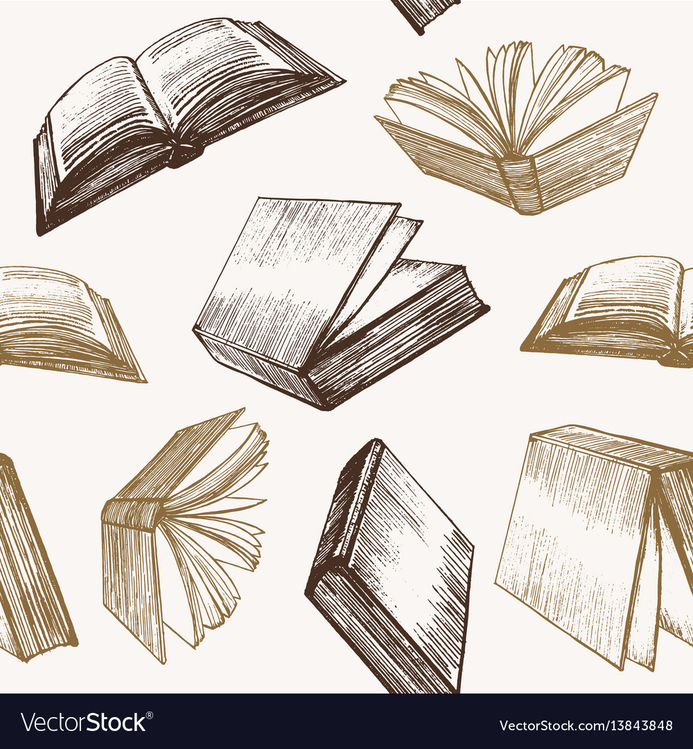 Book hand draw sketch background pattern vector image