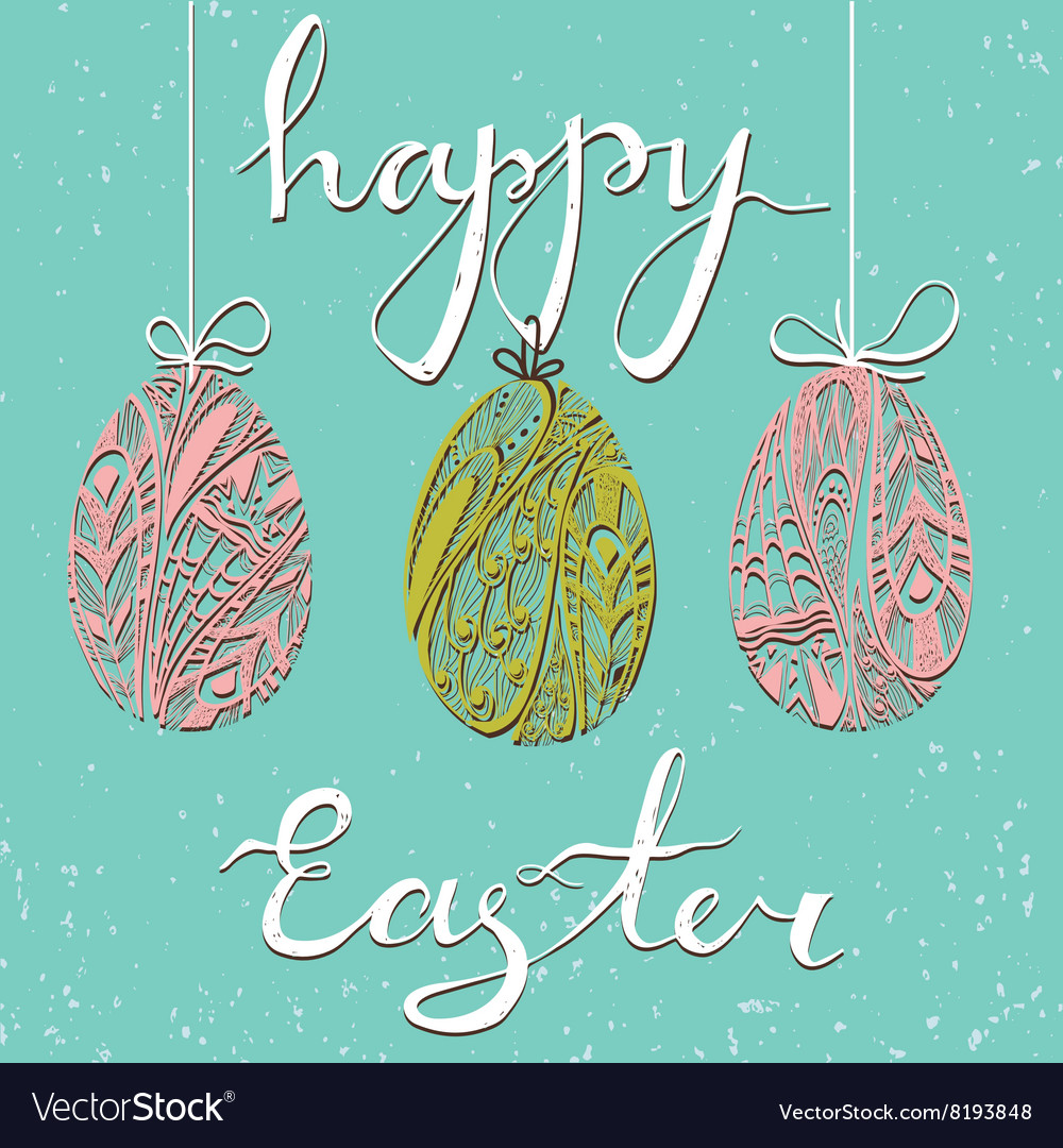 Happy Easter card Three ornamental eggs and text vector image