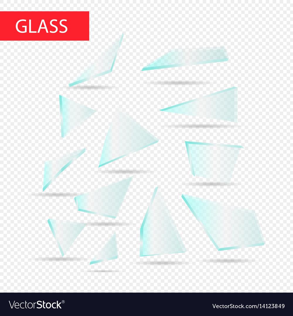 Glass pieces transparent glass vector image