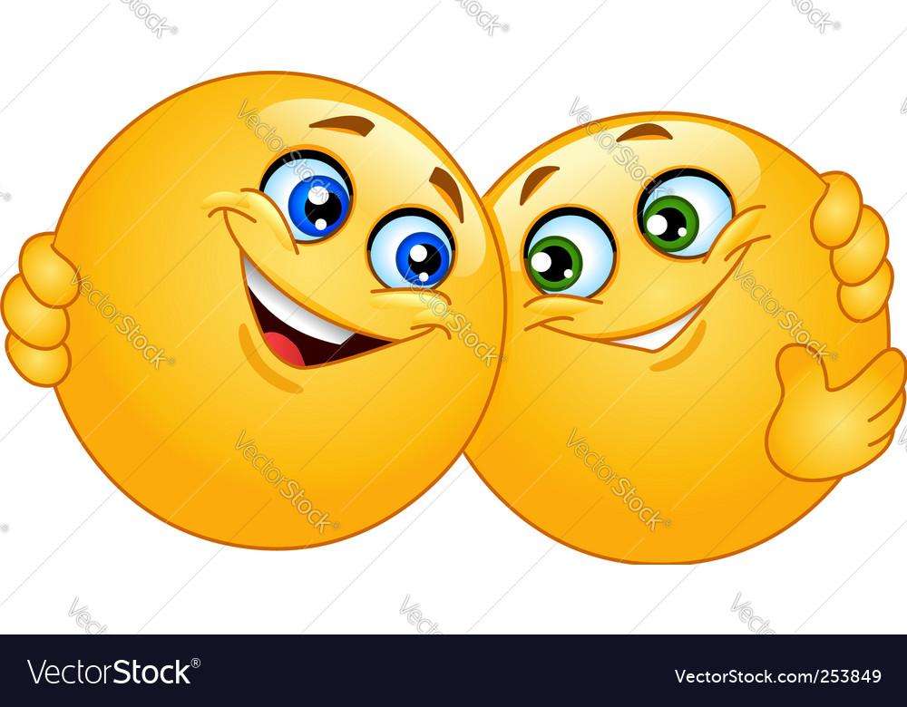 Hugging emoticons vector image