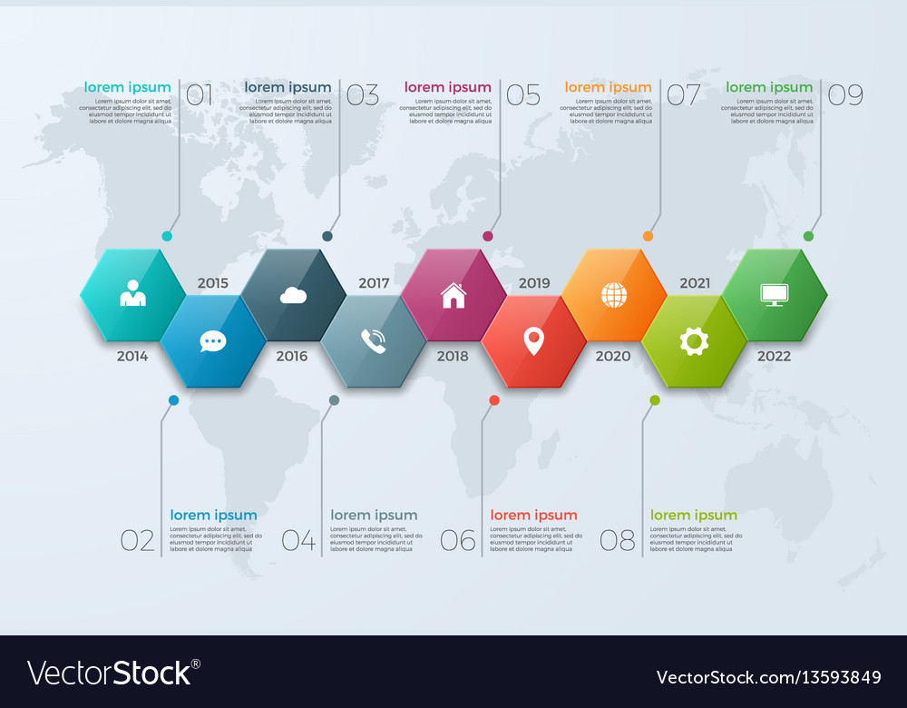 Timeline chart infographic template with 9 options vector image