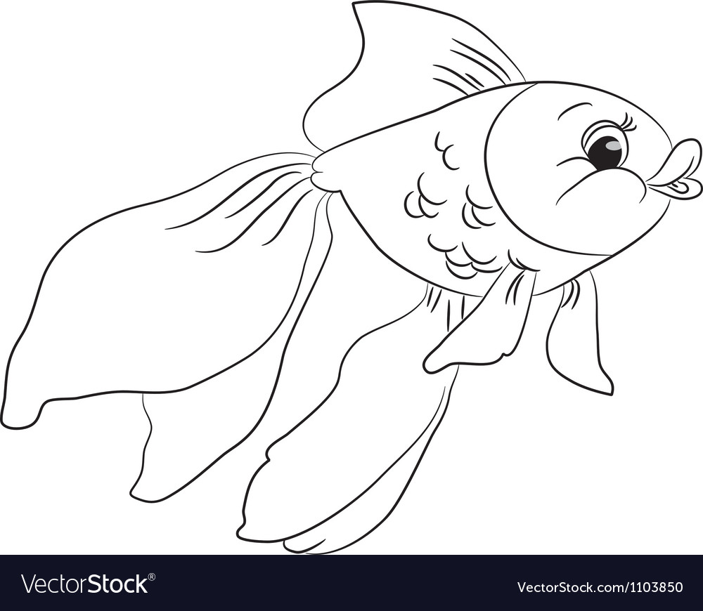 Coloring cartoon goldfish Royalty Free Vector Image