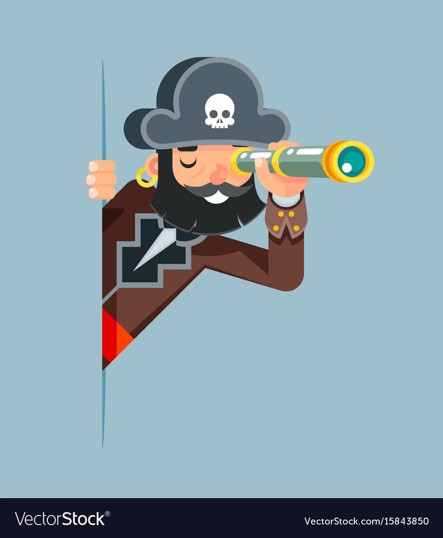 Pirate buccaneer filibuster corsair sea dog vector image