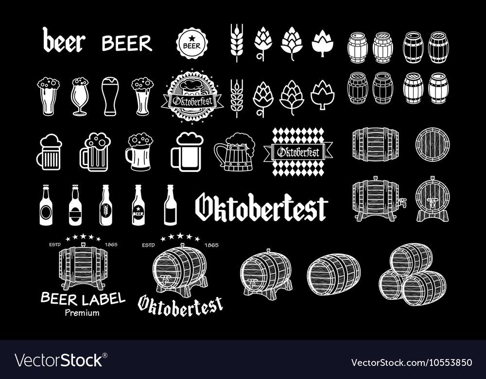 Vintage craft beer brewery emblems labels and vector image