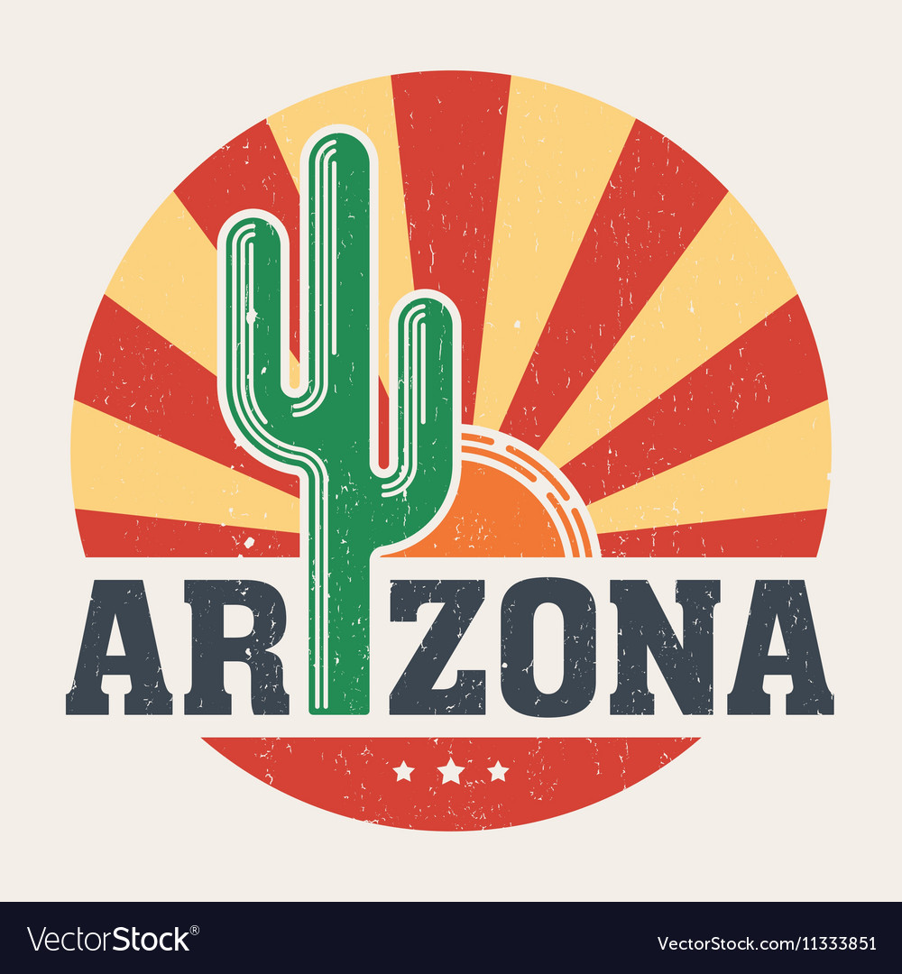 Arizona t shirt with styled saguaro cactus and sun vector image