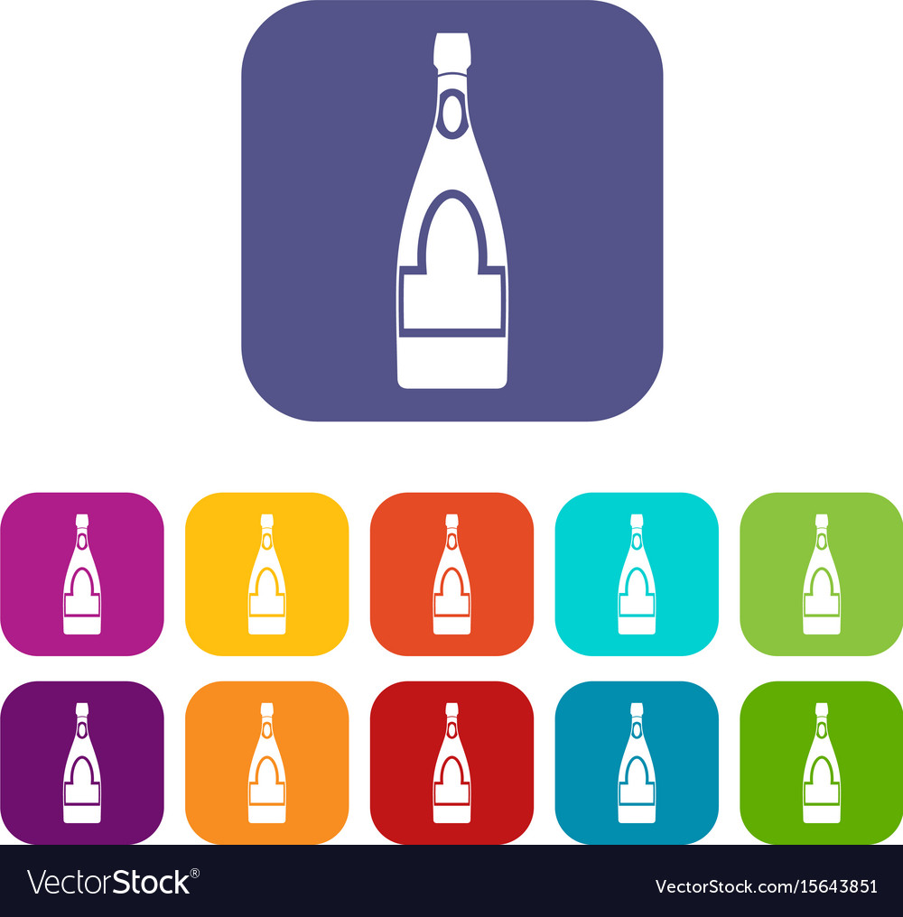 Champagne bottle icons set flat vector image