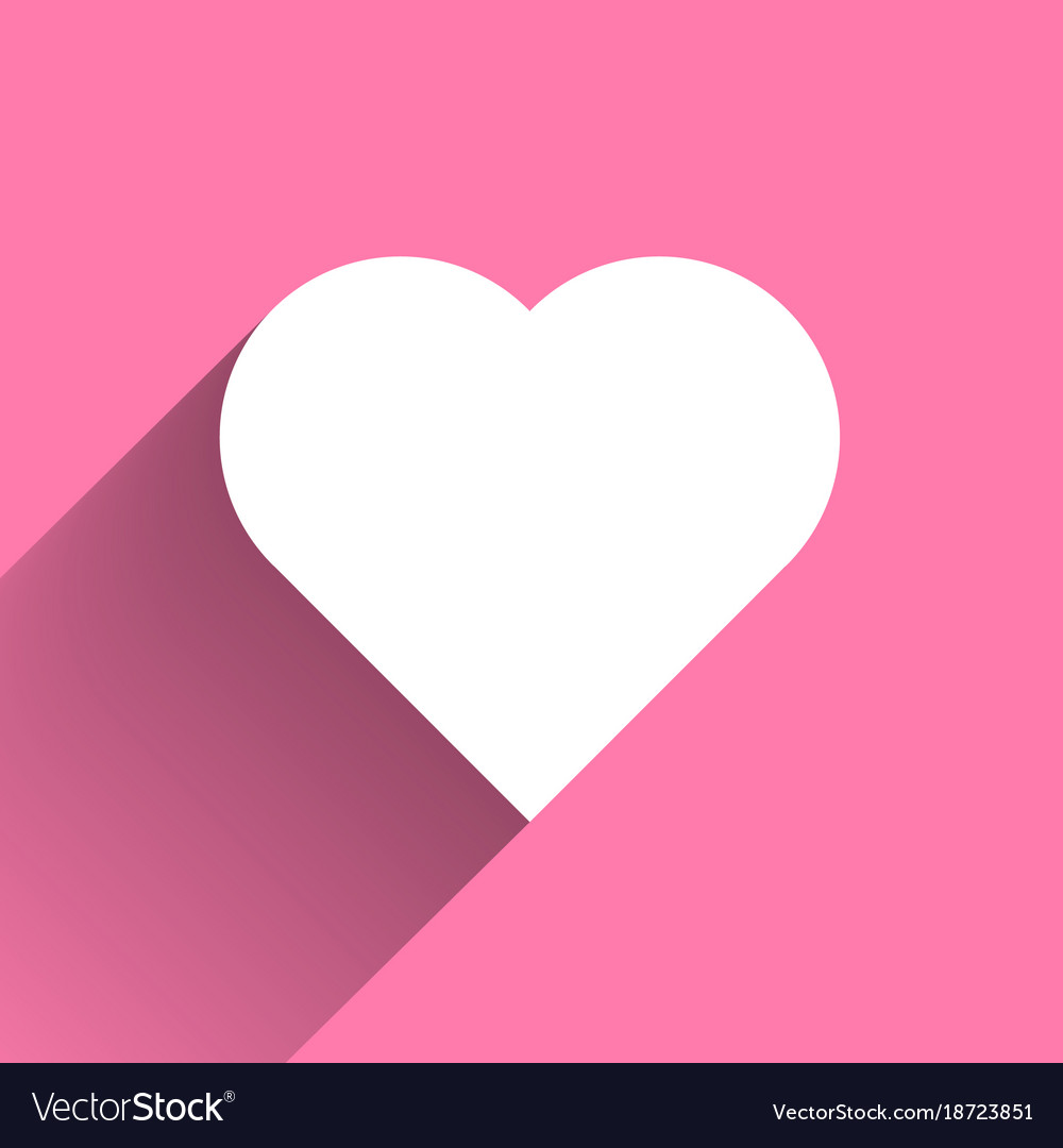 White heart long shadow icon on pink background vector image
