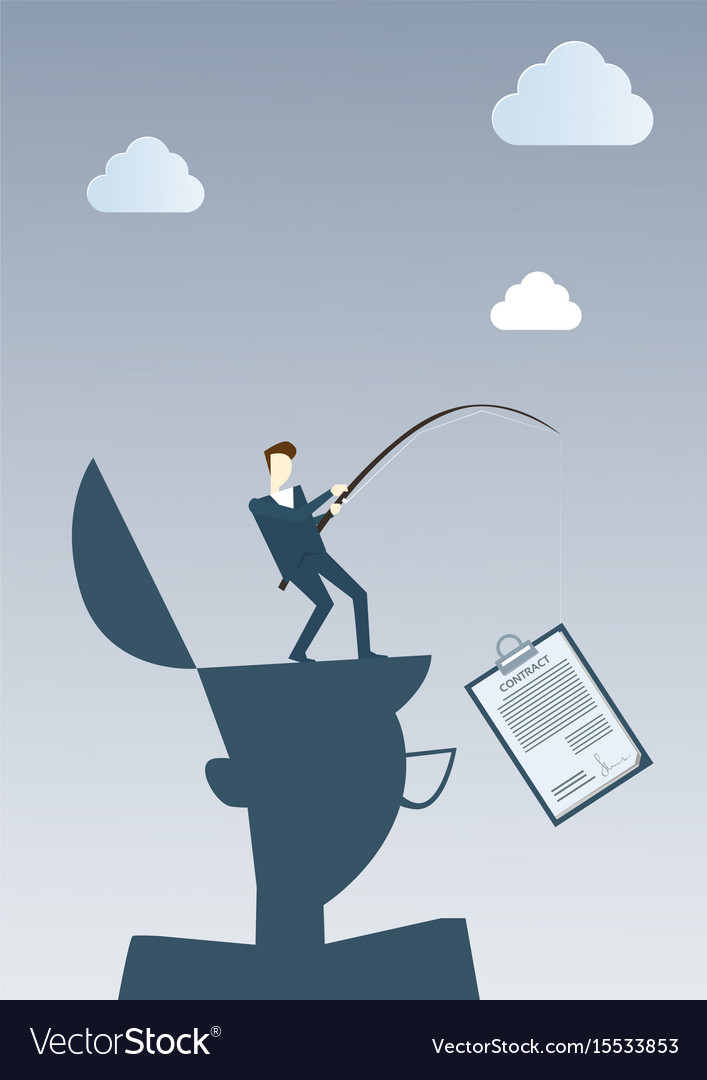 Successful business man hold contract on fishing vector image