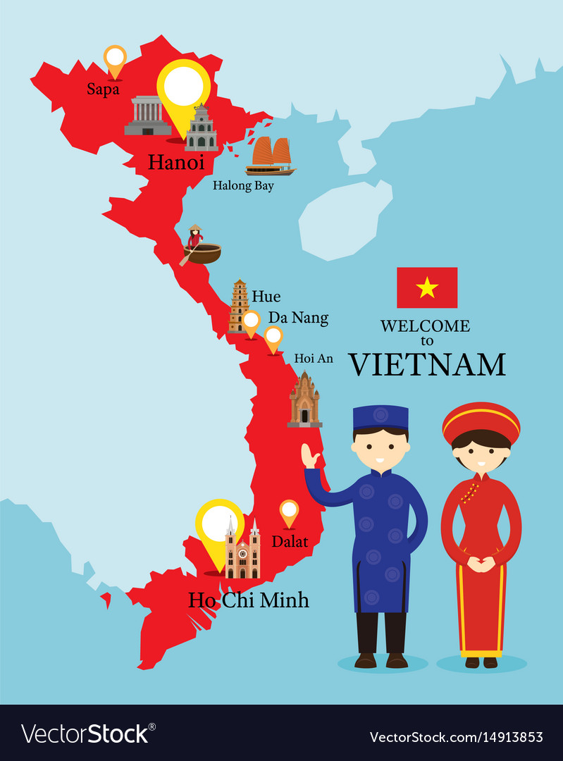 Vietnam Map And Landmarks With People In Vector Image - Vietnam map
