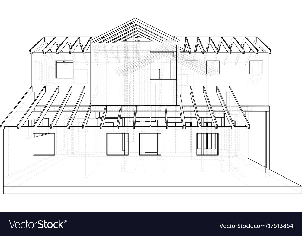 abstract architectural 3d drawing of apartment vector image - 3d Drawing Of House