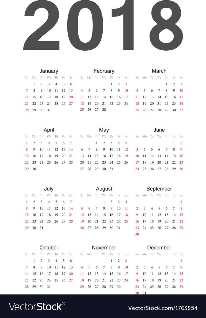 2018 year calendar