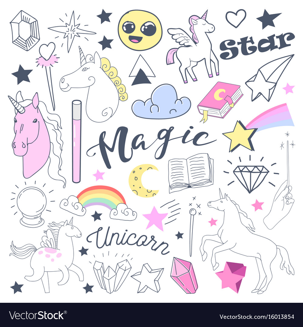 Freehand kids magical doodle with unicorn vector image