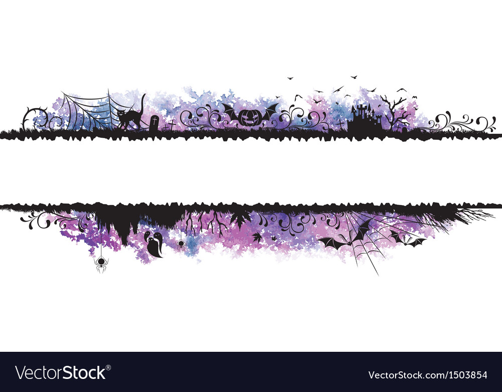 Watercolor halloween borders vector image