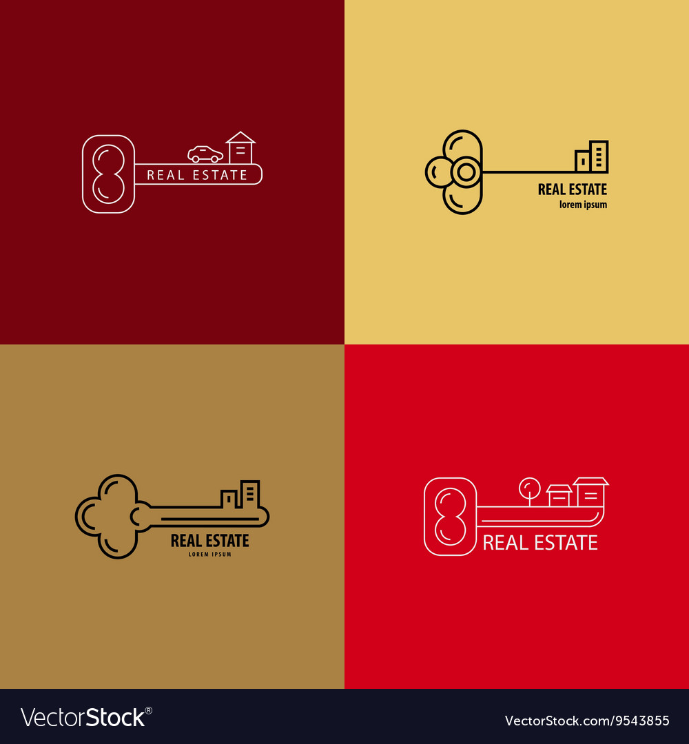 Set of logos of keys vector image