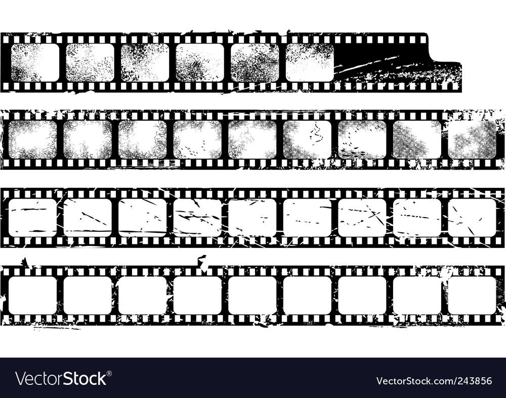 Grunge filmstrips set vector image