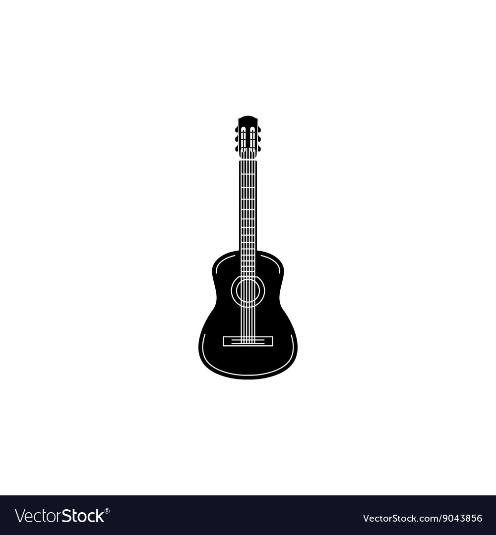 Acoustic guitar icon black simple style vector image