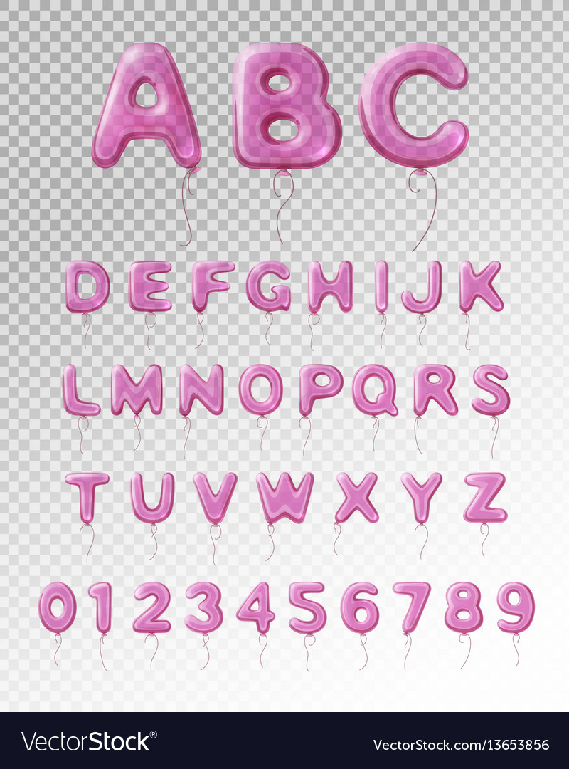 Balloon alphabet realistic transparent composition vector image
