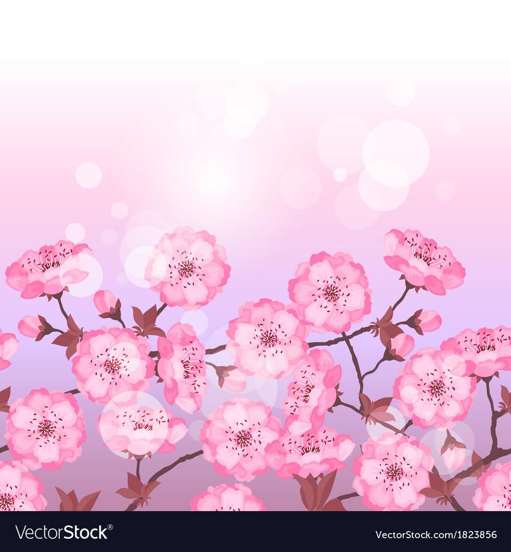 Spring sakura flowers seamless pattern horizontal vector image