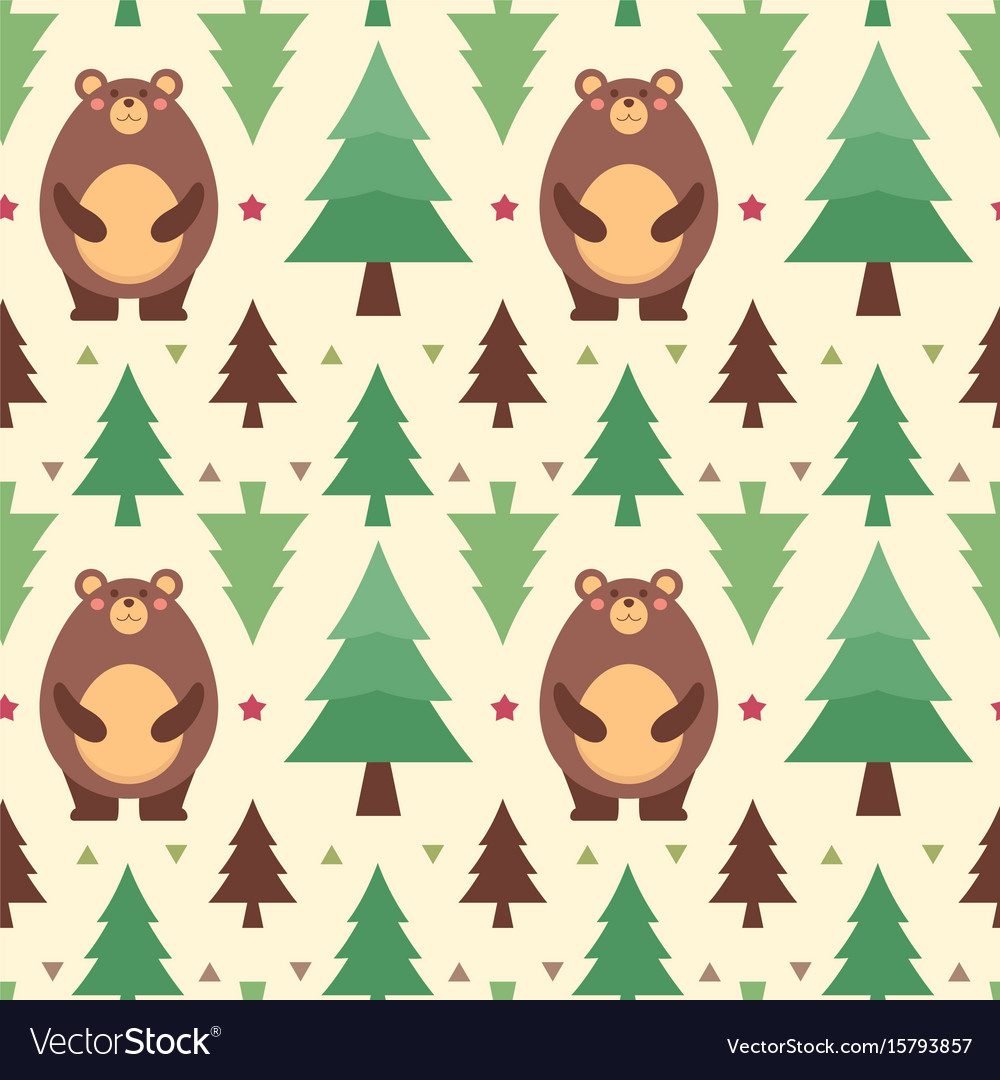 Seamless pattern bear vector image
