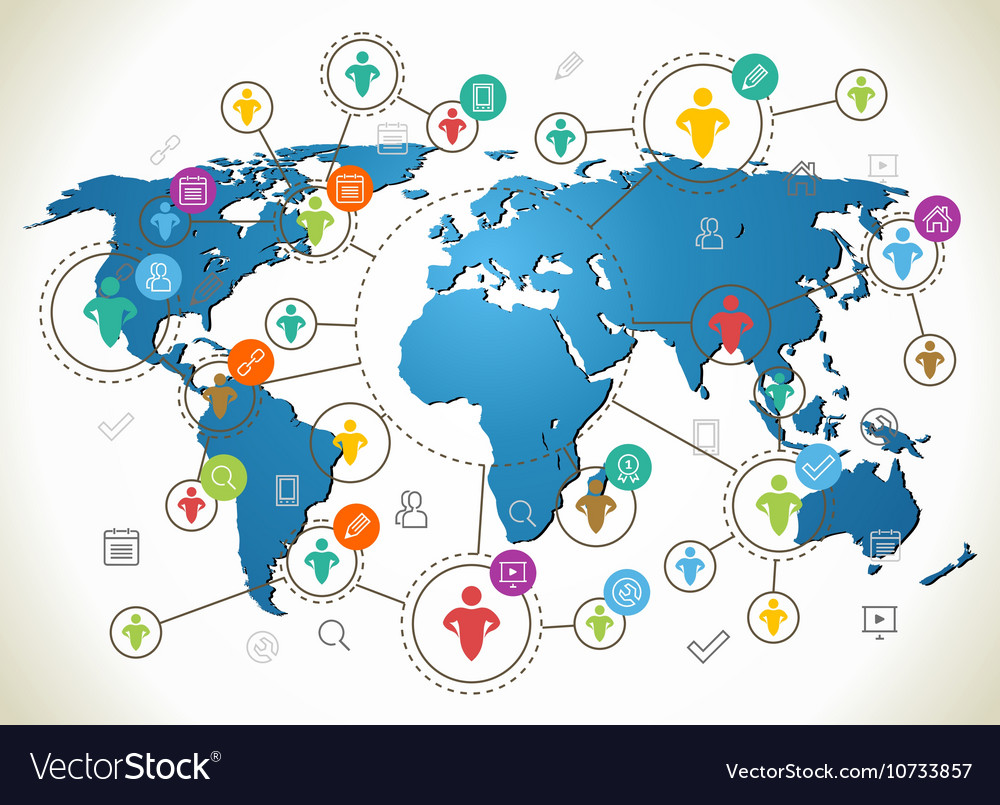 Social Network Various shapes sparkling vector image