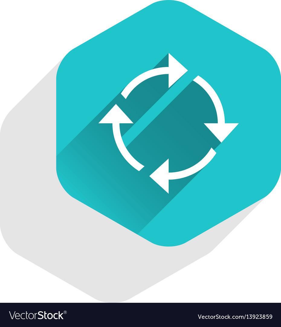 Flat arrow sign rotation icon hexagon button vector image