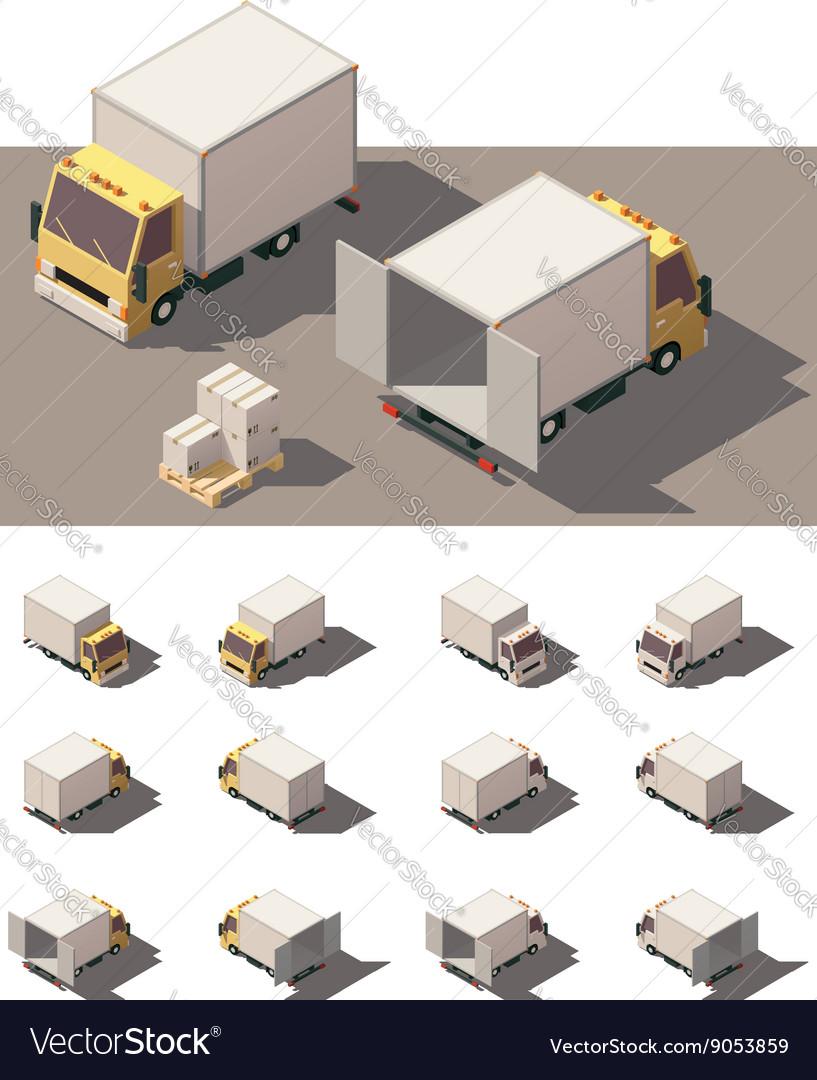 Isometric box truck icon set vector image