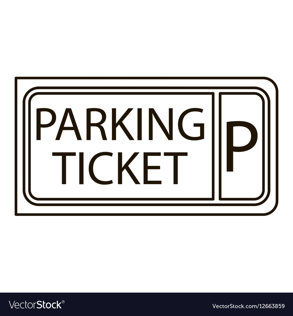 Parking ticket icon outline style vector image