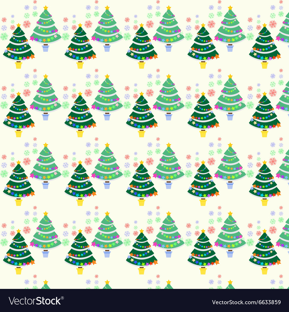 Seamless pattern with Christmas tree and snowflake vector image