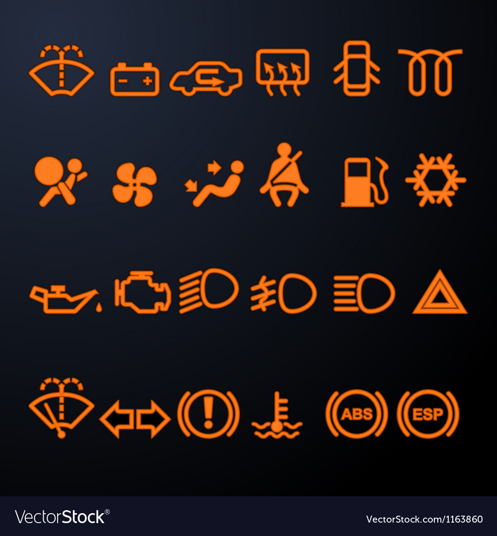 Illuminated car dashboard icons vector image
