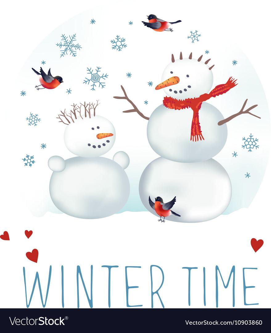 Snowmen bullfinches and snowflakes vector image