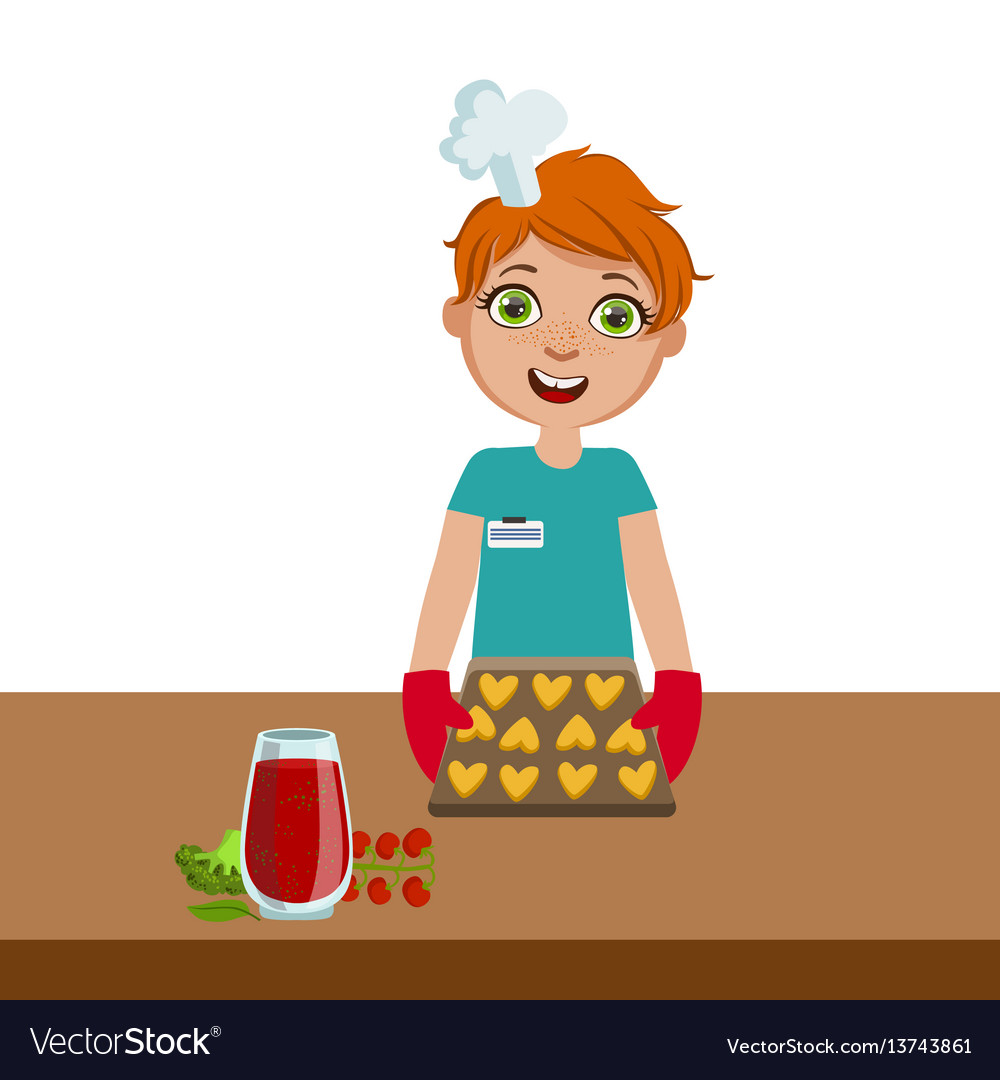 Boy taking cookies out of the oven cute kid in vector image