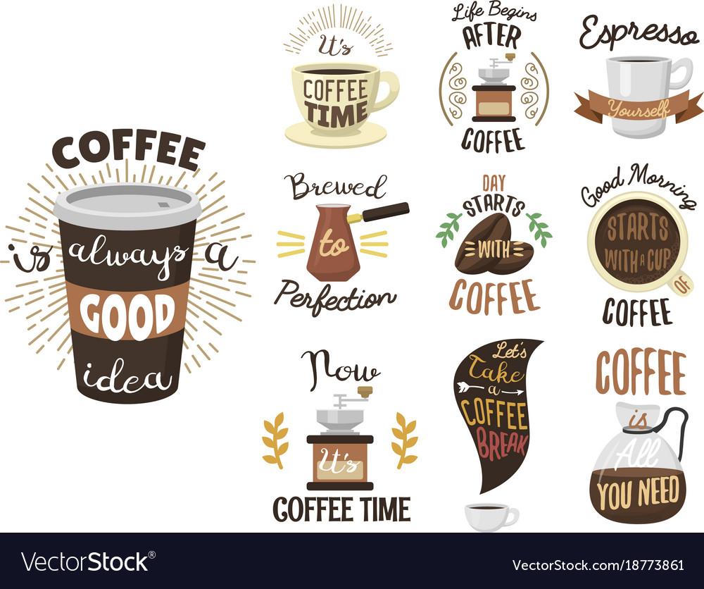 Vintage coffee shop labels ribbon logo and badges vector image