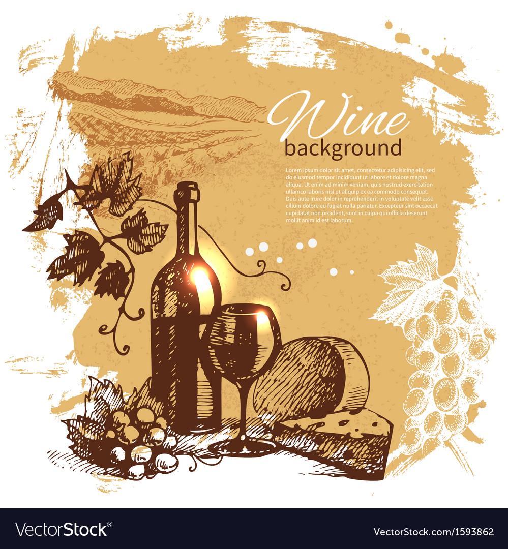 Hand drawn vintage wine menu background vector image