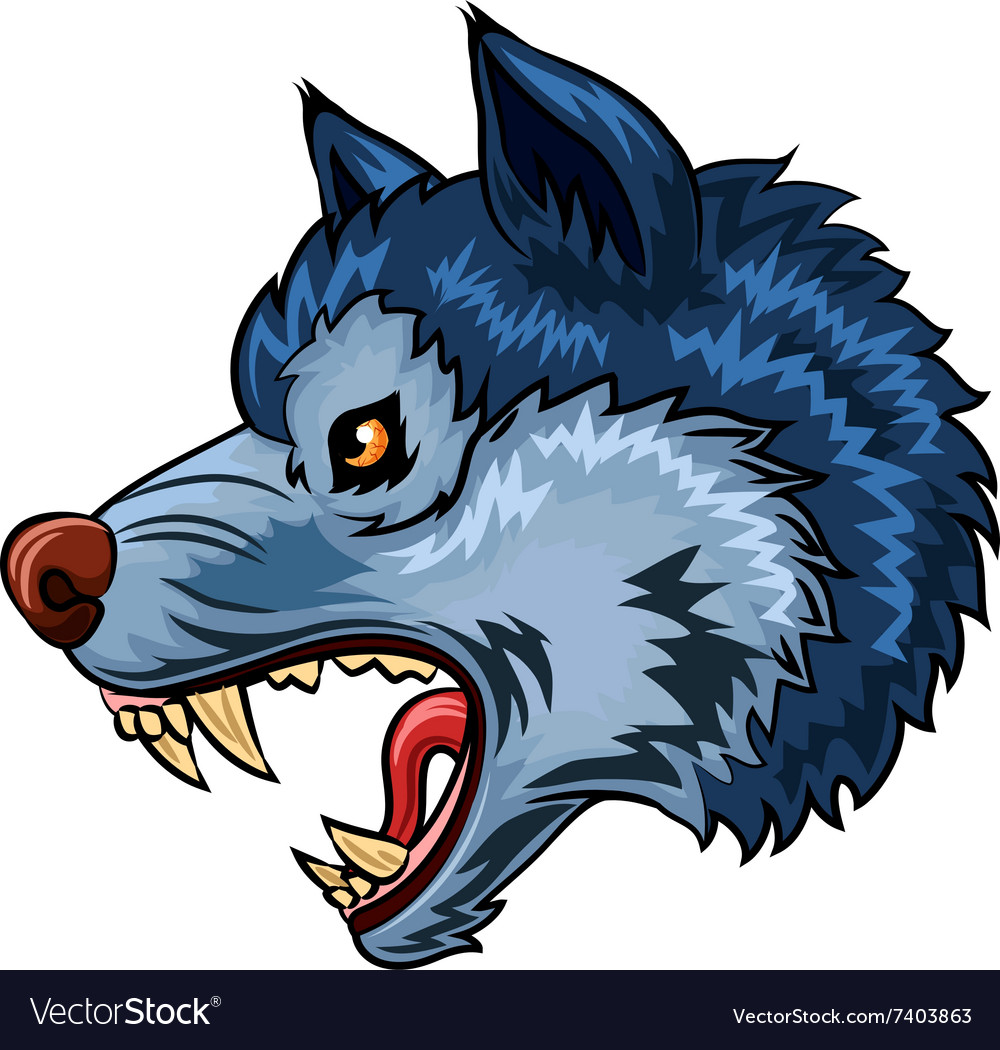 Cartoon of Angry wolf character isolated vector image