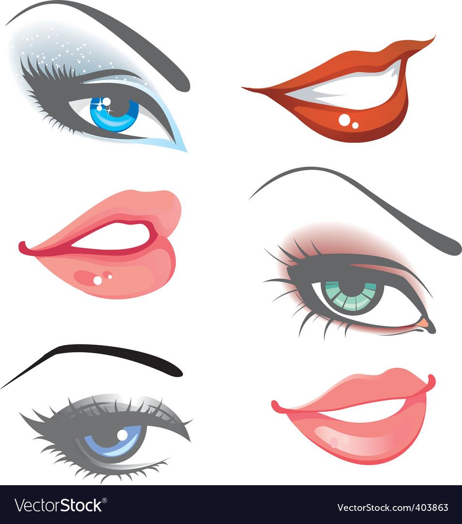 Women eyes lips vector image