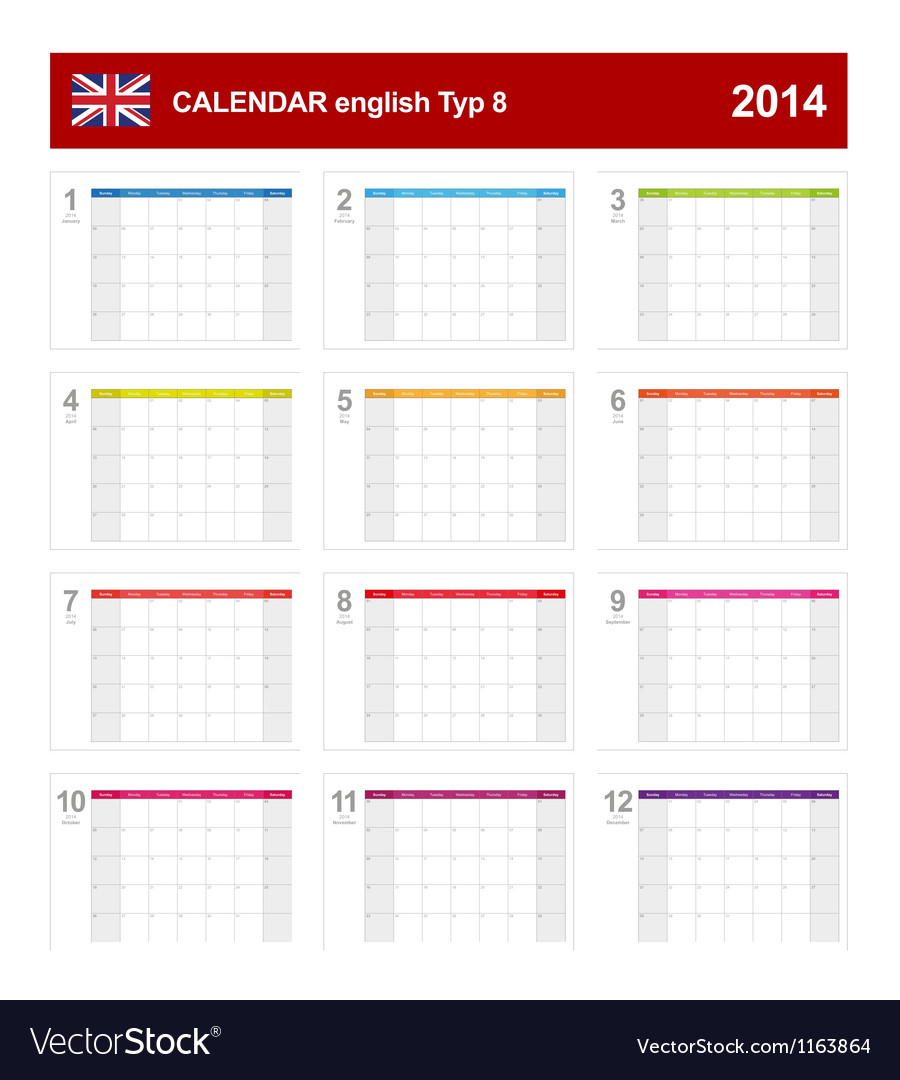 Calendar 2014 English Type 8 vector image