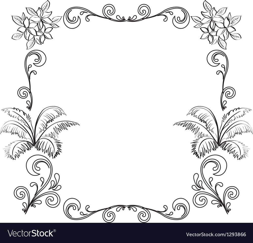 Abstract floral background outline vector image