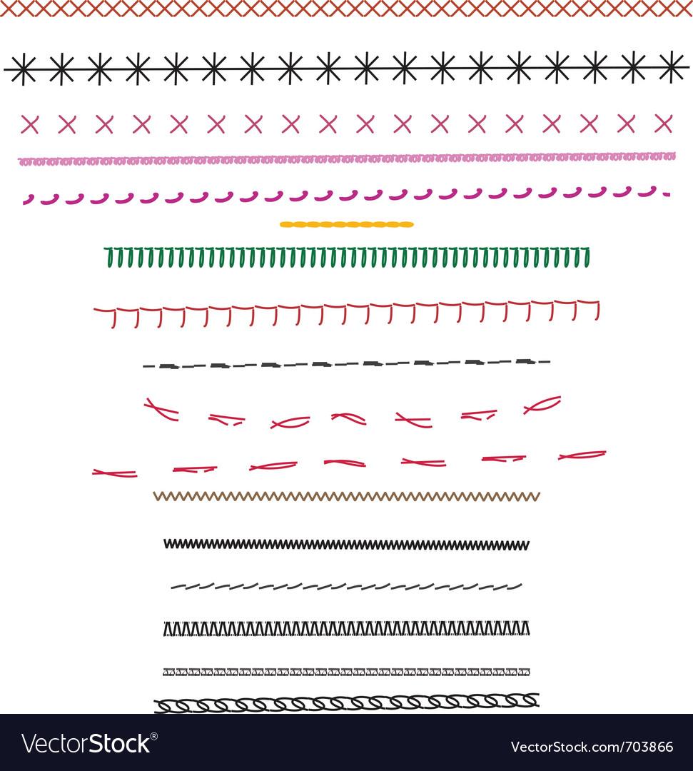 Fashion design stitching source brushes vector image