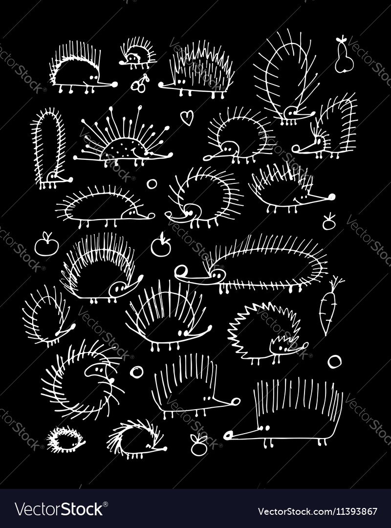 Funny hedgehog collection sketch for your design vector image
