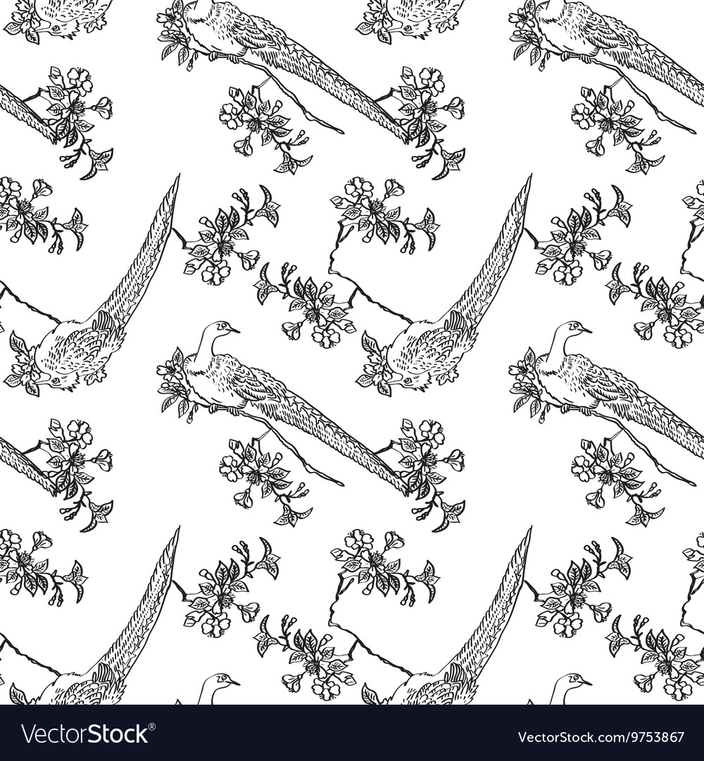 Japanese traditonal seamless pattern with birds vector image