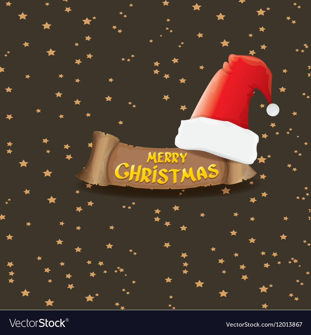 Red santa hat greeting text merry christmas vector image m4hsunfo