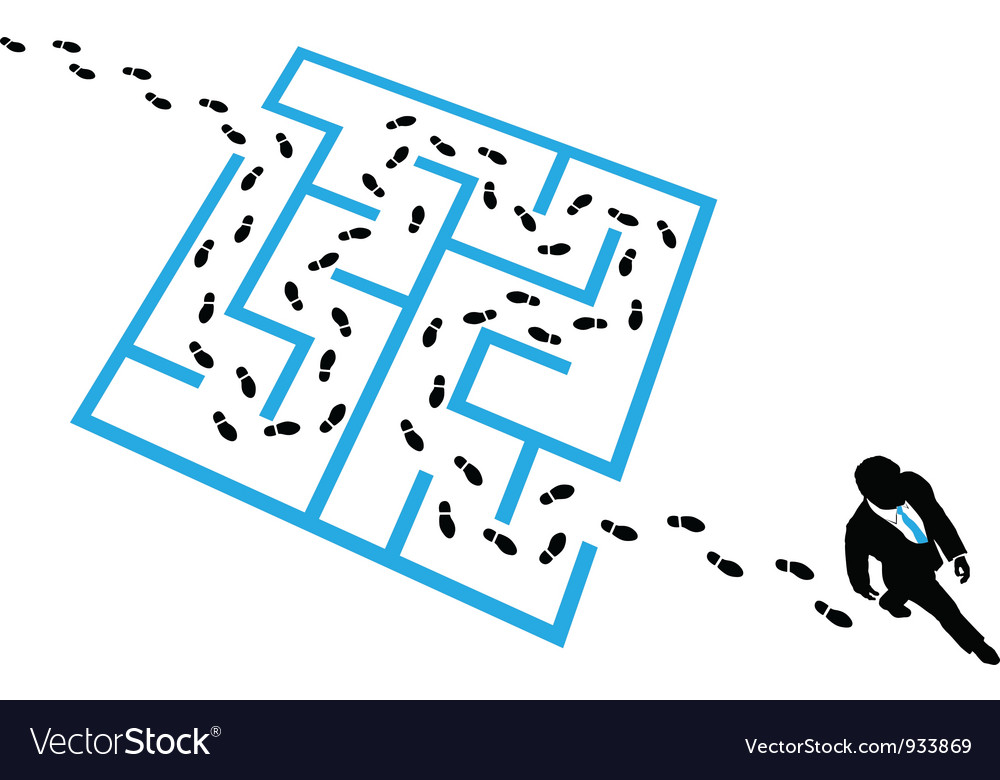 Person solves business problem maze puzzle vector image
