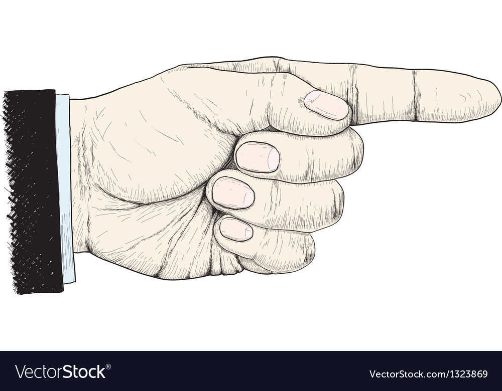 Hand shows the direction to the right vector image
