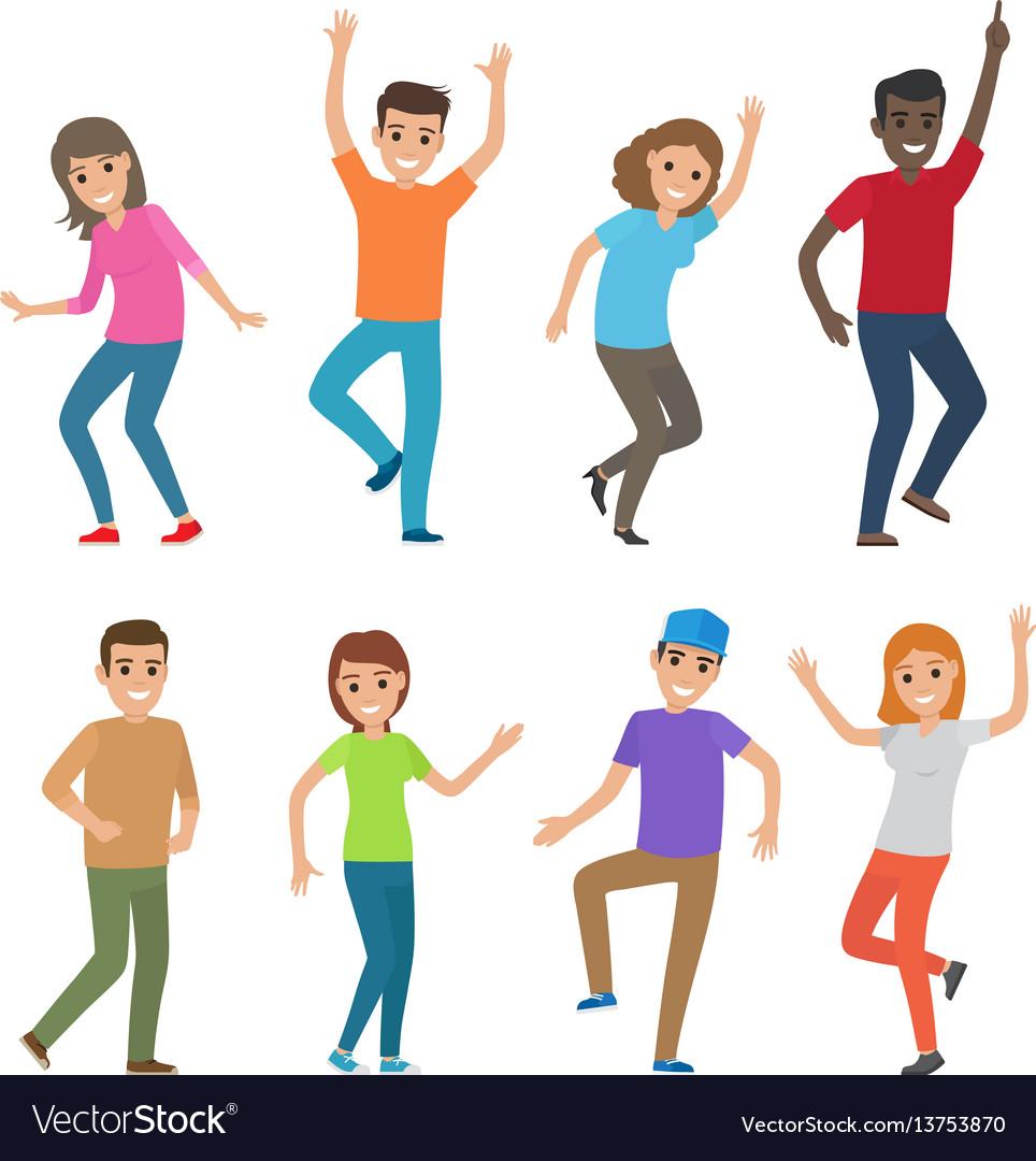 People dance big set of characters vector image